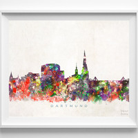 Dartmund Skyline Print, Germany Print, Dartmund Poster, Germany Cityscape, Wall Art, Watercolor Art, Skyline, Giclee, Christmas Gift