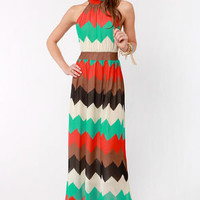 Chev-Rendezvous Striped Maxi Dress