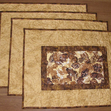 Quilted Place Mats Gold Rust Brown Leaves Mats