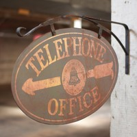 """Antique Reproduction Telephone Office Sign, 28"""" X 16.5""""t Two Sided Sign"""
