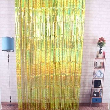 1x3 Meters Gold Foil Fringe Tinsel Curtain Tassel Garlands Wedding Photography Backdrop Birthday Party Decoration