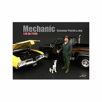 Customer Patrick and a Dog Figurine / Figure For 1:18 Models by American Diorama