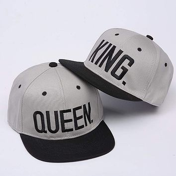 2 pc KING QUEEN Embroidery Snapback  Couple Baseball Cap