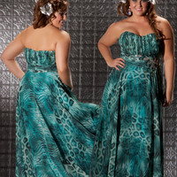 Teal Animal Print Chiffon Strapless Empire Waist Plus Size Prom Dress - Unique Vintage - Cocktail, Evening, Pinup Dresses