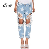 Women Hollow Out Stars Jeans
