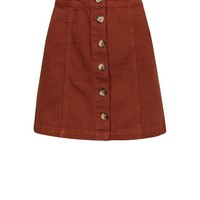 Brown Button Front A-Line Denim Skirt | New Look