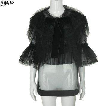 Black And White Sheer Mesh Layered Ruffles Bow Tie Front Structured Women Blouse New Three Quarter Flare Sleeve O Neck Top