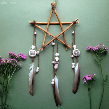 Willow pentagram wall hanging with handmade ceramic beads and feathers