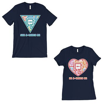 A-Mazes Me Navy Couples Matching T-Shirts Cute Valentine's Day Gift