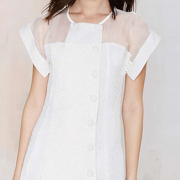 White Chiffon Wrap Mini Dress with Mesh Upper