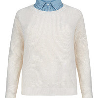 Inspire Cream and Blue Denim Collar 2 in 1 Knitted Jumper