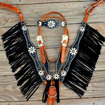 Black Gator/Tan Leather Fringe Browband Tack Set w/Black-Clear Crystal Rhinestone Conchos