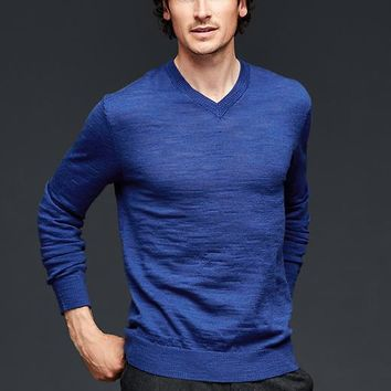 Gap Men Merino Slub V Neck Sweater