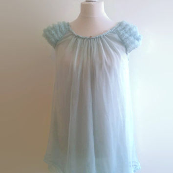 Blue vintage nightgown - 1960s pale blue babydoll - sheer nylon nightdress - 60s frilly night gown