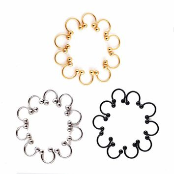 10 Pcs/set Stainless Steel Horseshoe Bar Lip Nose Septum Ear Ring Stud Body Piercing Jewelry Gifts