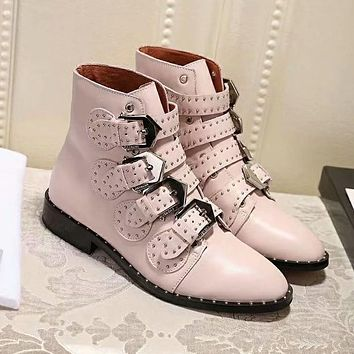 GIVENCHY Autumn Winter Popular Women Leather Shoes Boots Pink