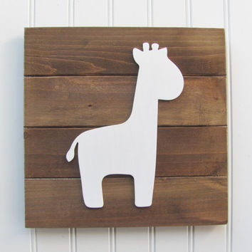 Baby Decor, Safari Letters, Nursery Decor, Safari Decor, Animal Decor, Giraffe, Nursery Wall Art, Pallet Board, Pallet Sign, Safari Animal
