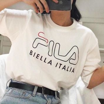 FILA 2019 new simple casual openwork short-sleeved T-shirt
