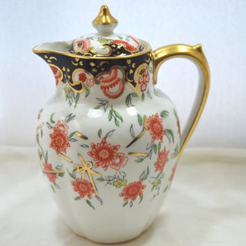 Royale Crown Derby Creamer with Lid Blue Cobalt and Gold Imari England Porcelain