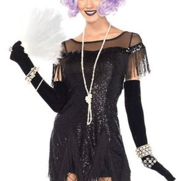 DCCKLP2 2PC.Roaring 20's Trixie,sequin dress w/zig zag fring,sequin headband in BLACK