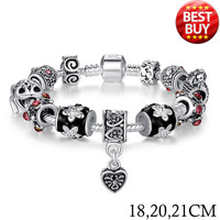 2015 Russia Belarus Popular 925 Silver Heart Charm Bracelet & Bangle With Glass Beads Jewelry PA1034