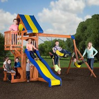 Backyard Discovery Peninsula Wooden Swing Set - Walmart.com