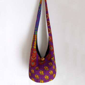Bohemian Tapestry Hobo Bag, Boho Bag, Bright, Colorful, Purple, Rainbow, Sling Bag, Crossbody Bag
