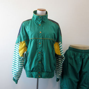 Vintage Nylon Windbreaker Track Suit Warm Up Athletic Active Wear Sweat Suit Gym Wear Womens Large