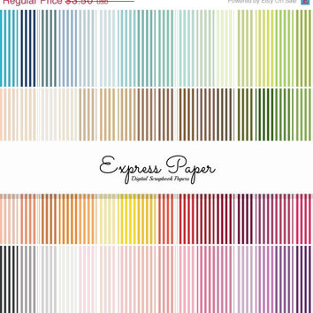 SALE 64 small vertical stripe digital papers- 12x12 and 8.5x11 included- Digital Paper Rainbow includes dark, bright, neutral and pastel col