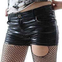 RTBU select PUNK/EMO HIP HUGGER SHINY STRETCHY LATEX LEATHER SHORTS