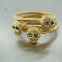 Black Diamond Stackable Skull Ring