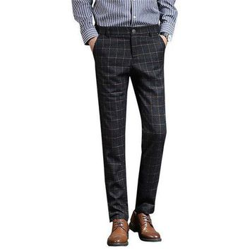 ONETOW pants men full length trousers men classic plaid suit pants woolen business casual style slim fit