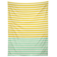 Allyson Johnson Mint And Chartreuse Stripes Tapestry