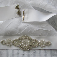 Wedding Belt, Bridal Belt, Rhinestone Beaded WHite grosgrain Ribbon Sash Crystal RhinestoneStyle BGR3001