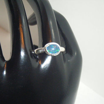 Size 7.5 Opal Triplet Cabochon Sterling Silver Ring