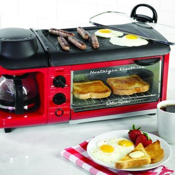 BSET300RETRORED | Retro Series™ 3-In-1 Breakfast Station | Nostalgia Electrics