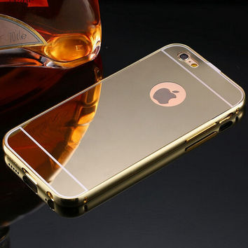 Luxury Plating Metal Aluminum Frame Back Mobile Cover Mirror creative case for Apple iPhone 5 5S 6 6S /for iPhone6S 6 Plus 5.5