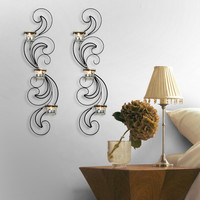 Furnistar Iron Vertical Candle Tealight Pillar Holder Wall Sconce - Three Tealights each (Set of Two)