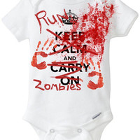"Baby Halloween Costume Onesuit Onesuit: ""Keep Calm and Carry On / RUN - ZOMBIES"" Funny Baby Shirt for Baby Boy or Girl Preemie Size Avail."