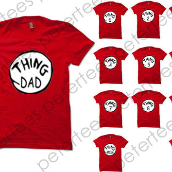 Funny Shirt Thing 1 Thing 2 Shirt Halloween Shirt Christmas Costume Thing Shirt Logo Red Unisex T-Shirt Tee Size S,M,L,XL (TH-2)