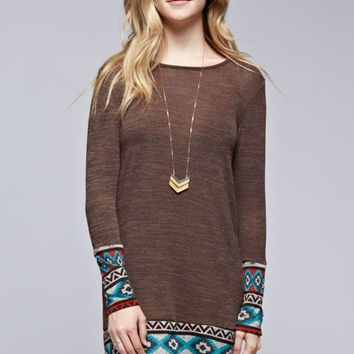 Aztec Print Trim Mocha Sweater Dress