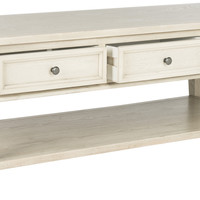 Manelin Coffee Table With Storage Drawers White Washed