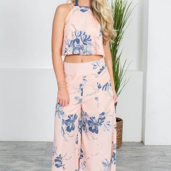 Summer Floral Pink Culottes