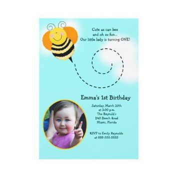 BEE HOP *Photo* Birthday Bumble Bee Invitation from Zazzle.com
