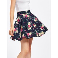 Multicolor Floral Print Above Knee Skirt