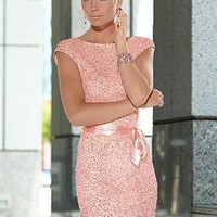 Sequin dress with ribbon  from VENUS