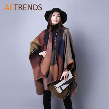 2016 New Brand Women's Winter Poncho Vintage Blanket Womens Lady Knit Shawl Cape Cashmere Scarf Poncho Z-2241