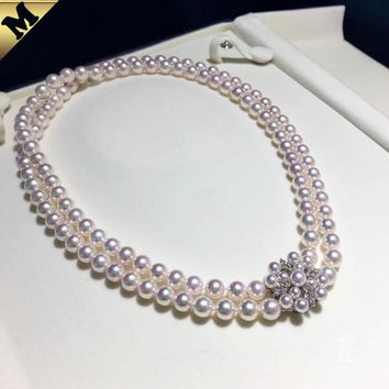 PMS 3-7.5mm Akoya Pearl Double Strand Necklace w/ Diamond Clasp - AAAA