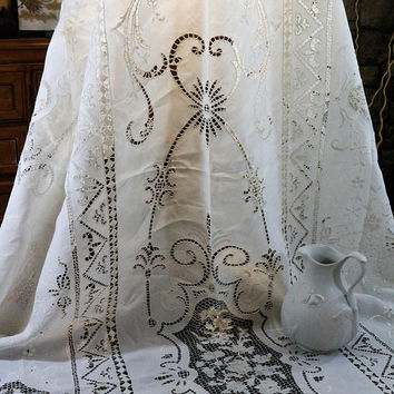Large Lace Tablecloth, Point de Venise, Greek Key Filet Lace, Cut Work White Work, Flower Baskets & Fleur de Lis, Geometric, Antique Linens