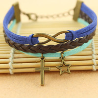 my star bracelet--infinity&cross bracelet,antique bronze charm bracelet,blue cord,brown braid leather bracelet,MORE COLORS